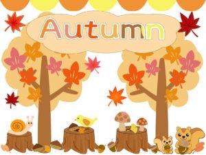 秋のイラスト・フレーム(紅葉・いちょう・りす・きのこ・栗・どんぐり・小鳥・切り株)