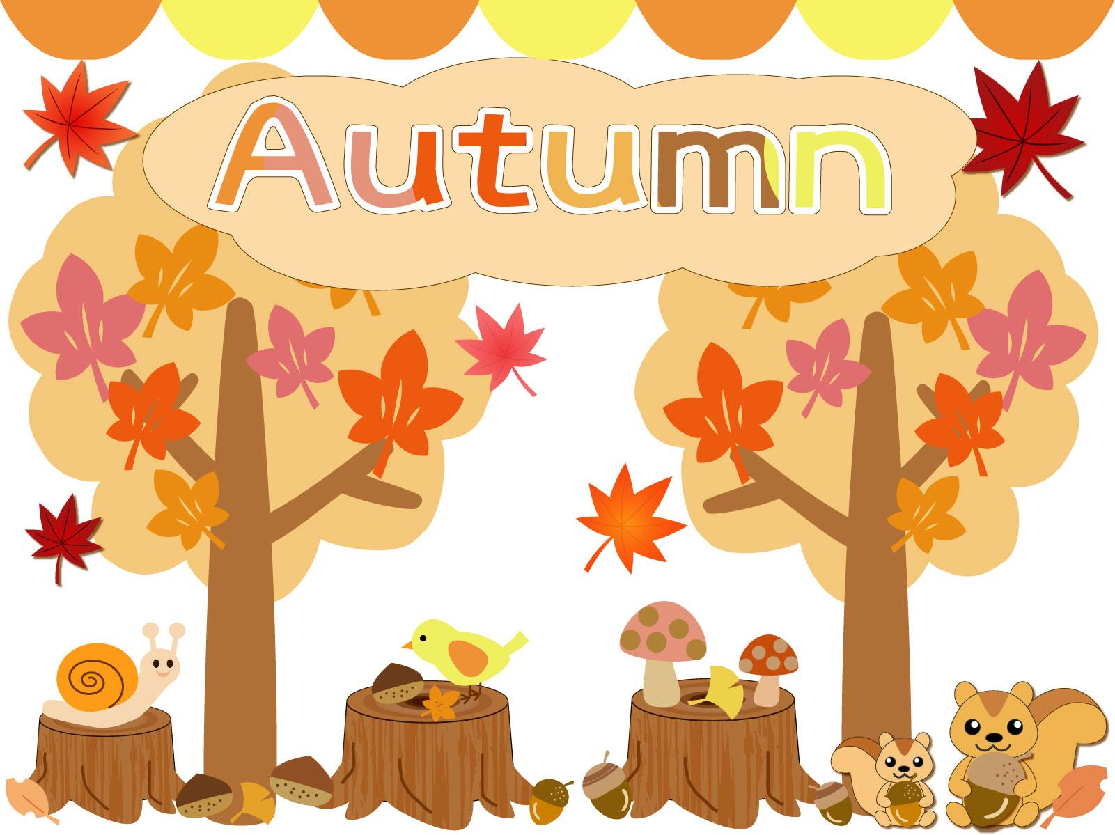 秋のイラストアイコンセット(紅葉・いちょう・りす・きのこ・栗・どんぐり・小鳥・切り株)