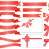 りぼんのイラスト・フレーム・見出しセット(ゴールド・赤・オレンジ・ピンク・青・緑・白・ブラウン)