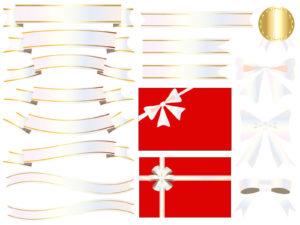 白色(ホワイト)・パールのリボンのイラストセット