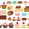 チョコ、ケーキ、ドーナツ、マカロン、カップケーキ、ロールケーキなどのスイーツのアイコンセット(無料)