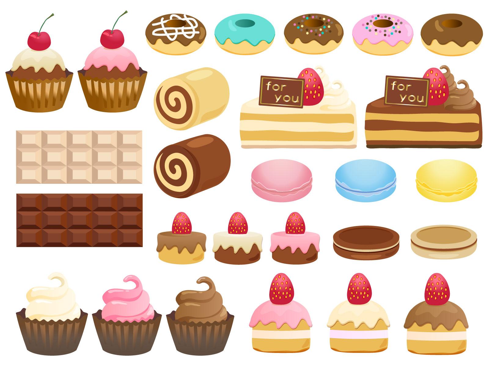 ケーキ、ドーナツ、スイーツのアイコンセット(無料)