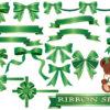 緑色(グリーン)のリボンのイラストセット