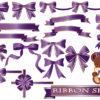 紫色(パープル)のリボンのイラストセット