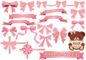 ピンク(桃色)のリボンのイラストセット