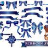 青色(ブルー)/のリボンのイラストセット
