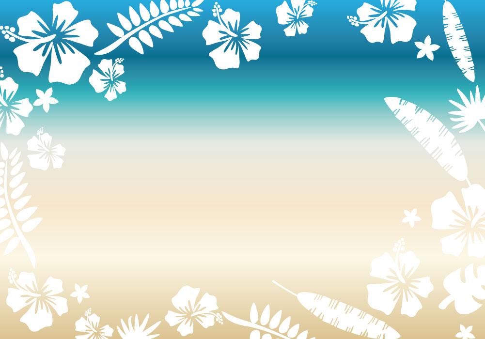ハワイや沖縄などの南国をイメージさせるハイビスカスと海、砂浜のイラスト